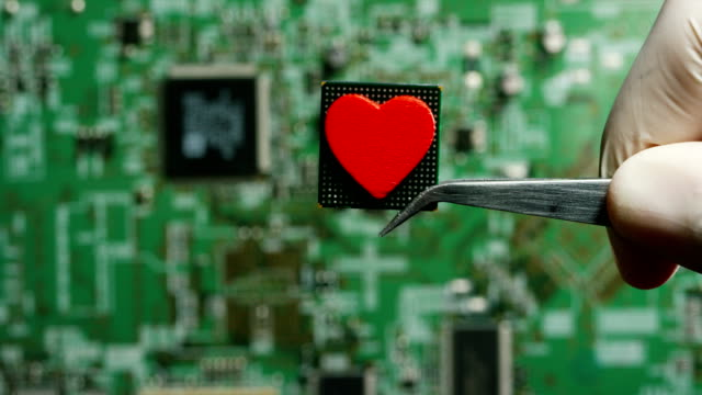macro shot of a chip, futuristic and modern advanced technology system. the circuit is used in the computer processor and the hi-tech communication and business security and information and assistance - замок средство безопасности стоковые видео и кадры b-roll