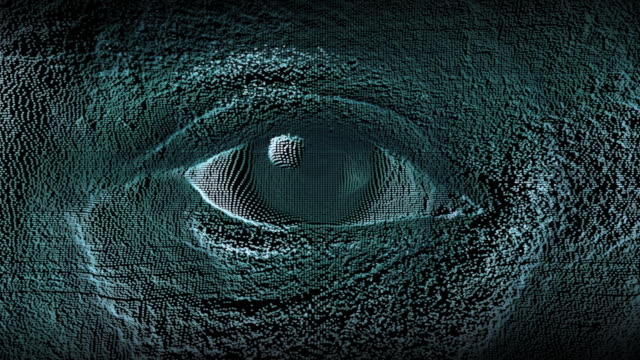 macro shot of an eye of a African ethnic boy, digital effect representing virtual reality, ideal footage for themes such as augmented reality, virtual reality and digital communicationv