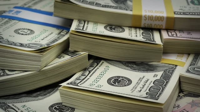 Macro U.S. money rotating video