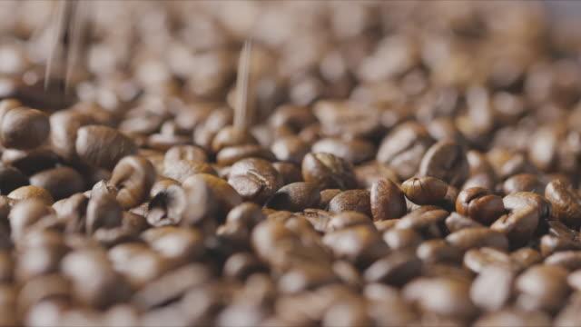 makro video faller rostade kaffebönor närbild. slow motion, full hd-video, 240fps, 1080p. - tefat bildbanksvideor och videomaterial från bakom kulisserna