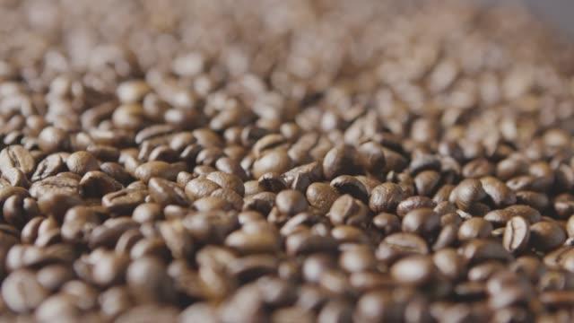 makro video nyrostad kaffebönor faller på säden. slow motion, full hd-video, 240fps, 1080p. - tefat bildbanksvideor och videomaterial från bakom kulisserna