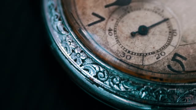 Macro vintage pocket watch time going fast video