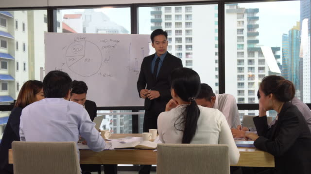 Mad asian manager shouting and scolding employees group at office meeting