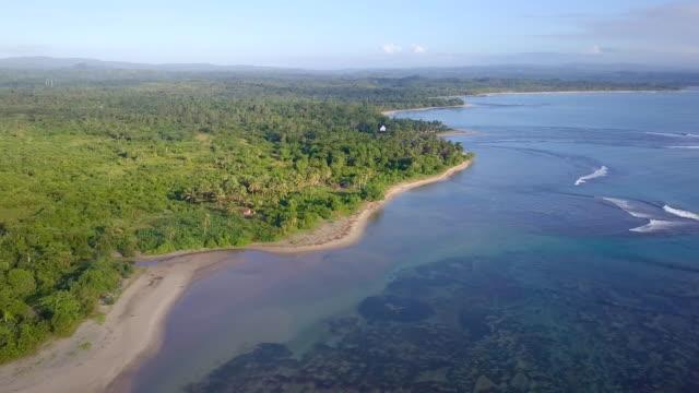 Madagascar Mahambo Tropical Coast Drone View Drone flight along the east coast of Madagascar madagascar stock videos & royalty-free footage