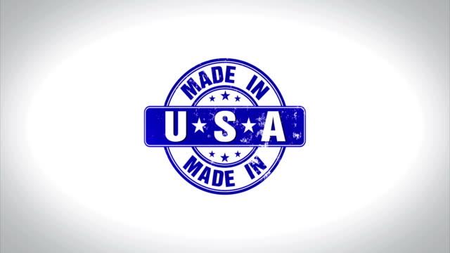 vídeos y material grabado en eventos de stock de made in usa palabra sello madera animación 3d animación - eventos de etiqueta