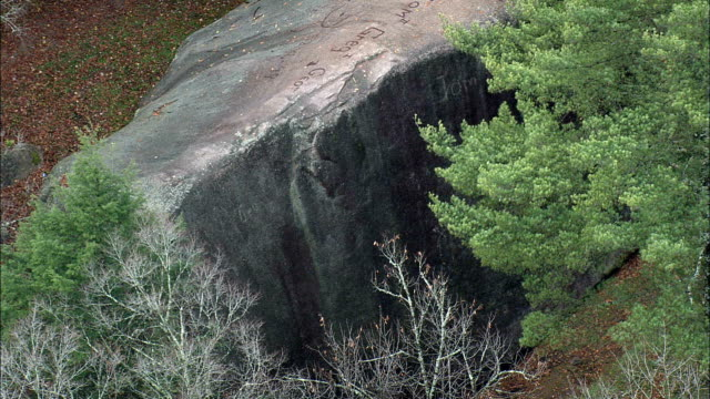 Madison Boulder  - Aerial View - New Hampshire,  Carroll County,  United States video
