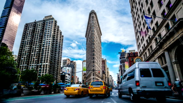 madison square flatiron new york timelapse - american architecture stock videos & royalty-free footage