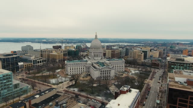 Madison Wisconsin Capitol Building Downtown Skyline UW Campus Aerial video