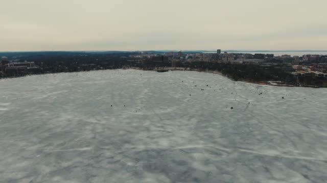 Madison Wisconsin Skyline Winter Frozen Lake Aerial video