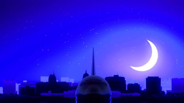 Madison Wisconsin USA America Airplane Take Off Moon Night Blue Skyline Travel video