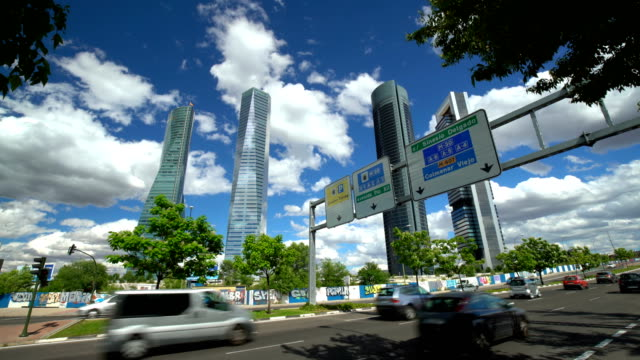 Madrid business district with four Skyscrapers, Realtime Madrid business district with four Skyscrapers, Realtime office park stock videos & royalty-free footage