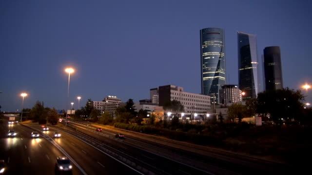 Madrid city highway evening video