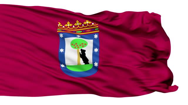 madryt miasto z nadmorska powiewająca flaga - insygnia filmów i materiałów b-roll