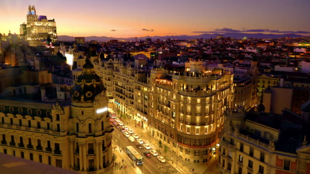 madrid from above at sunset and early evening - madrid video stock e b–roll
