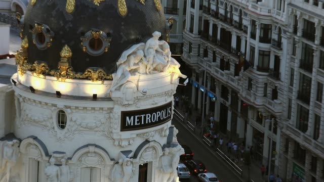 madrid observation deck gran via metropolis sunset panorama, real time - madrid video stock e b–roll