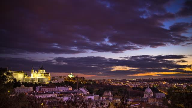 Madrid Skyline at Sunset - Time Lapse video