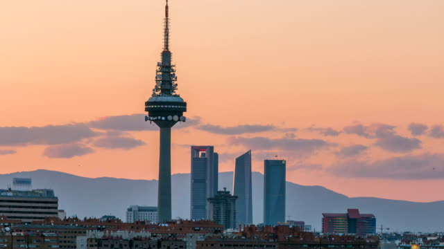 Madrid skyline timelapse with some emblematic buildings such as Kio Towers, part of the Cuatro Torres Business Area and the Piruli TV Tower video