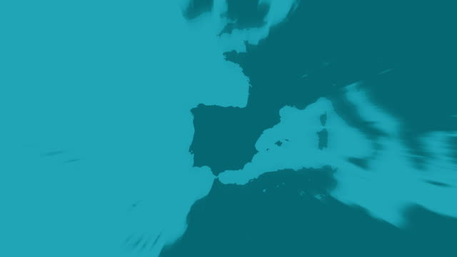 madrid vergrößern grünlichen ton welt karte animation - spanien stock-videos und b-roll-filmmaterial