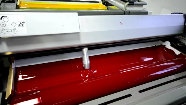 magenda, red on the offset  print press machine wide perspective - lithograph stock videos & royalty-free footage