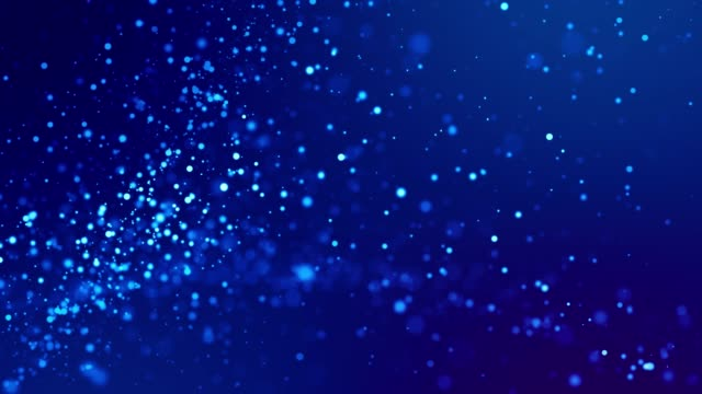 Magic blue glowing particles flow in viscous liquid and bright glisten. Science fiction. 4k 3d sci-fi background with glittering particles, depth of field and bokeh. Luma matte as alpha channel. 77 video
