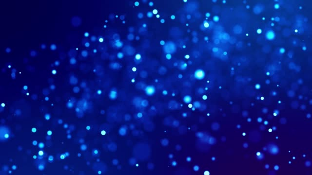 Magic blue glowing particles flow in viscous liquid and bright glisten. Science fiction. 4k 3d sci-fi background with glittering particles, depth of field and bokeh. Luma matte as alpha channel. 187 video