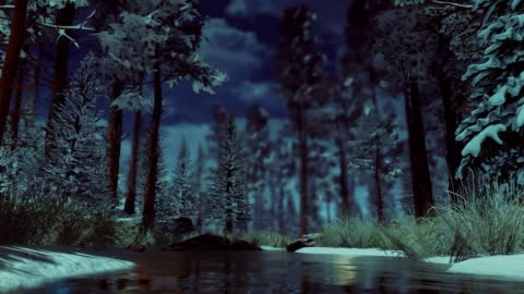 Magic fairy lights in snowy winter forest at misty dusk Supernatural fairy firefly lights flying above small woodland river among snow covered fir trees in a dark mysterious winter forest at early morning or dusk. Fantasy 3D animation. fantasy stock videos & royalty-free footage