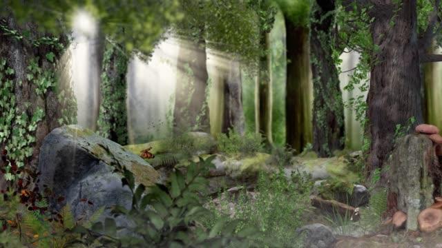 Magic fairytale forest with sunshine 4k
