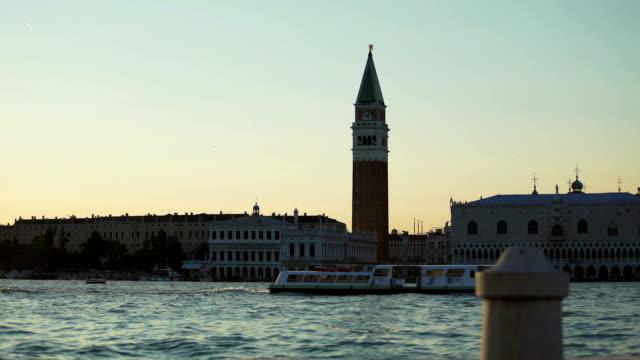 Magic hour, panorama of Doge's palace and Santa Maria della Salute church video
