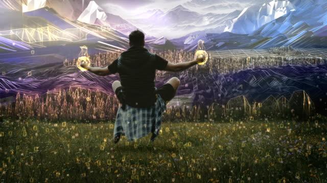 vídeos de stock, filmes e b-roll de magia da natureza. homem levitando no prado com bolas de fogo nas mãos - surreal