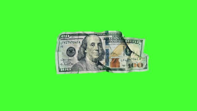 magic money: una fattura da $ 100 dollari si trasforma in una fattura da $ 20 dollari su chroma key - conto corrente video stock e b–roll