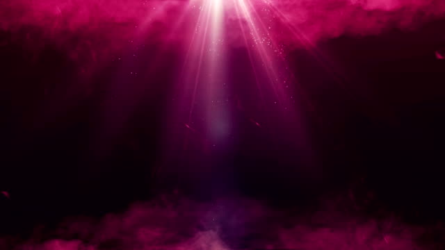 magic mystery smoke and red ruby beams with dust. 4k uhd animated christmas video seamless loop background. - riflettore lenticolare video stock e b–roll