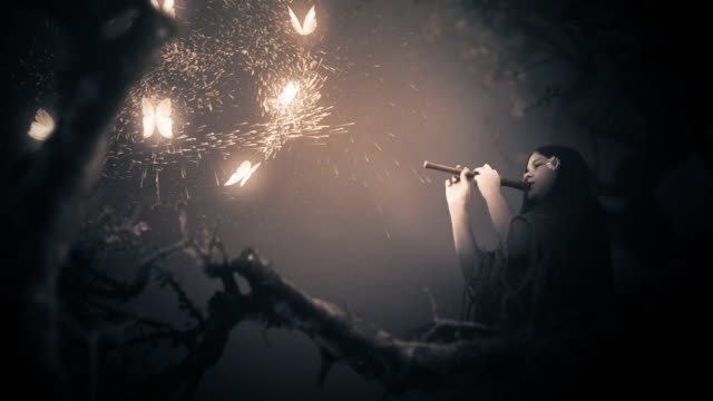Magic Kulissen. Mädchen spielen Flöte und strahlende Schmetterlinge. Fantasy-Serie. – Video