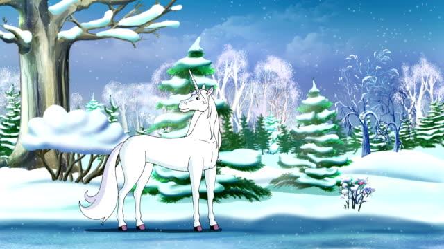 Magic Unicorn in a Winter Forest UHD video