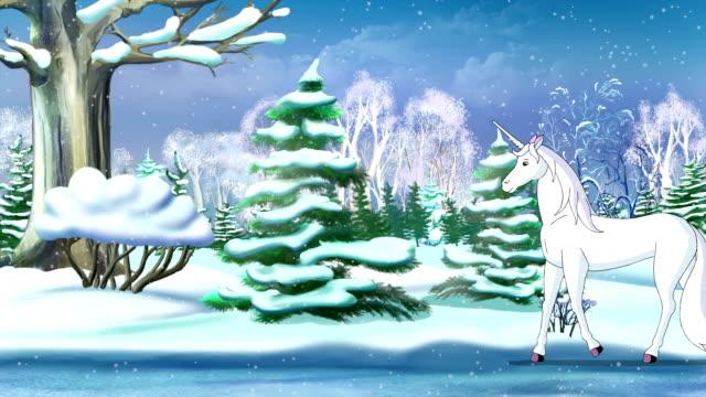 Magic Unicorn in a Winter Forest video
