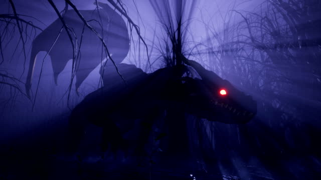a magical big dragon stalks through an enchanted misty dark forest. animation for fabulous, fiction or fantasy backgrounds. - drago personaggio fantastico video stock e b–roll