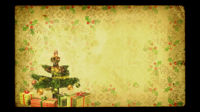 Magical Growing Christmas Tree. Grunge version. Loopable between 17:00-26:00. video