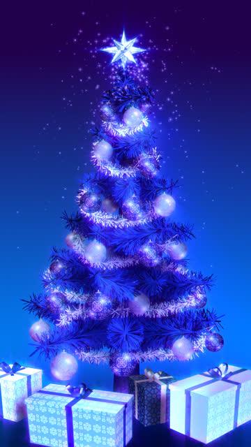 Magical Growing Christmas Tree. Vertical blue version. Loopable between 17:00-26:00. video
