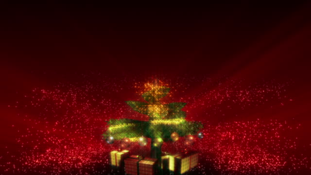 Magical Growing Christmas Tree with loopable section. Red background. video