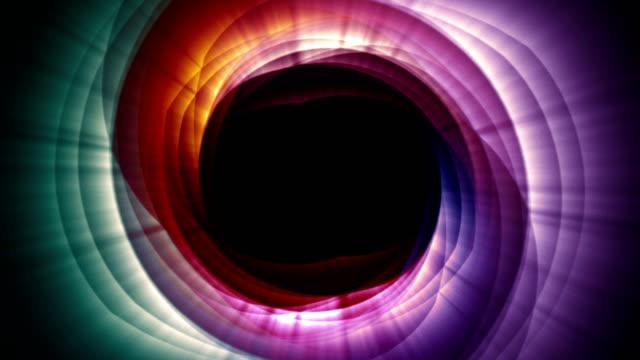vídeos de stock, filmes e b-roll de abstrato do anel mágico de partículas, animação, renderização, laço - caleidoscópio padrão