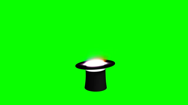 Magician Hat and Wand Green Screen Separate Elements