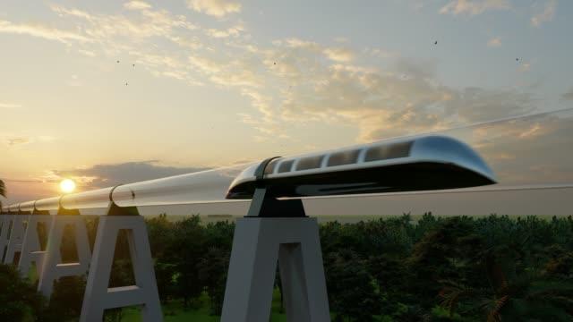 vídeos de stock e filmes b-roll de maglev monorail hyperloop on cloudy background. 3d illustration. future technology illustration. virtual travel. 3d render - green city