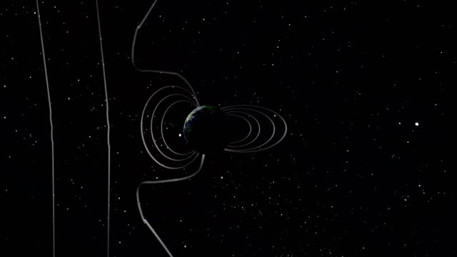 Magnetic field lines around the Earth disconnect and reconnect due to magnetic interaction with the solar wind from the Sun in this animation. The interaction of particles from the Sun cause the magnetic field lines protecting the Earth to reshape themselves, causing the atmosphere to glow at the poles of the Earth, i.e., the aurora. magnet stock videos & royalty-free footage