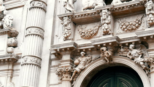 Magnificent molding of white clay on one of the Venetian cathedrals video