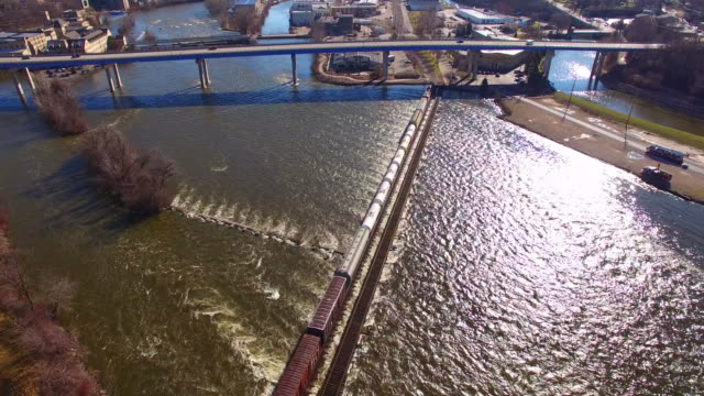 Magnificent view as train crosses river rapids video