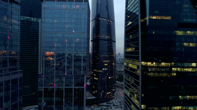 Magnificent view of night skyscrapers at night. 4K. video
