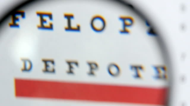 Magnifier Over Eye Chart Revealing Blurry Text Magnifying glass scanning over eye test for optician - medical concept eye chart stock videos & royalty-free footage