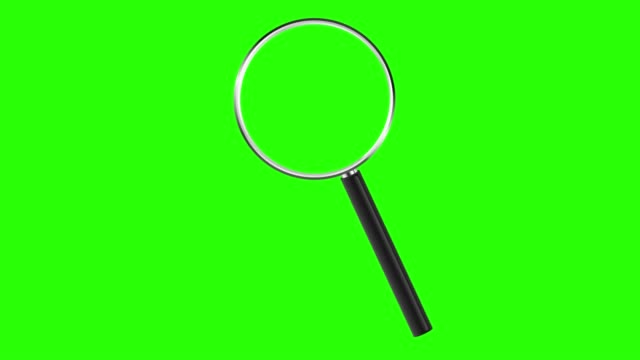 Magnifying glass isolated on green screen. Chroma key green insert