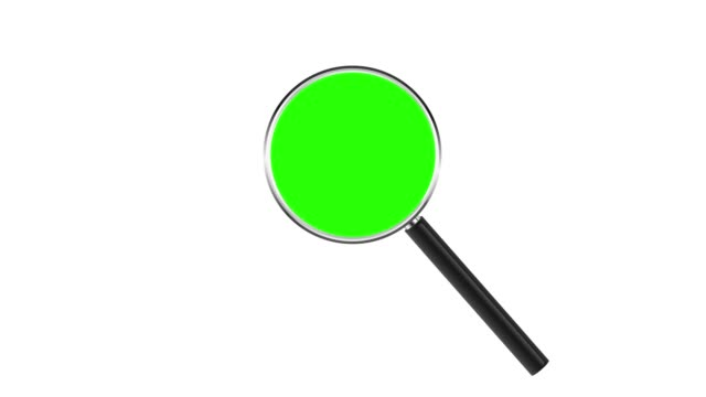Magnifying glass isolated on white background. Chroma key green insert Magnifying glass isolated on white background. Chroma key green insert. magnifying glass stock videos & royalty-free footage