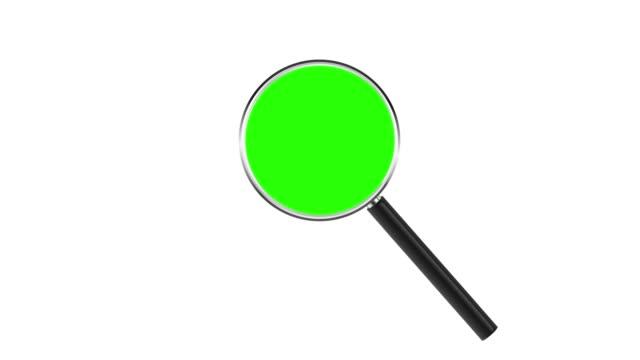 lupe isoliert auf weißem hintergrund. chroma-taste grün einfügen - lupe stock-videos und b-roll-filmmaterial