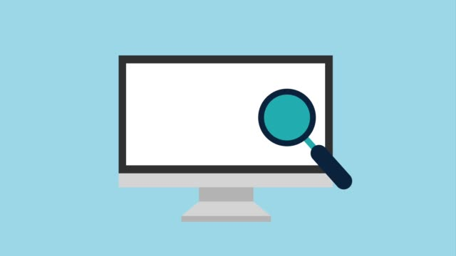 magnifying glass moving over computer monitor icons magnifying glass moving over computer monitor icons animation design magnifying glass stock videos & royalty-free footage